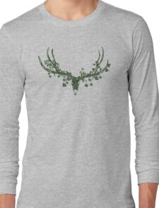 Deer Skull Paper-Cut Long Sleeve T-Shirt