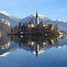 Church on island at Lake Bled Slovenia by John Keates