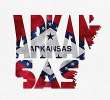 Arkansas Typographic Map Flag by A. TW
