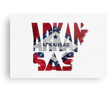 Arkansas Typographic Map Flag Metal Print
