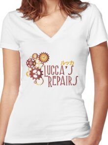 Lucca's Repairs Women's Fitted V-Neck T-Shirt