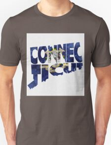 Connecticut Typographic Map Flag Unisex T-Shirt