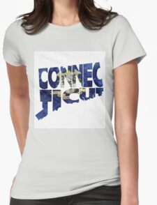 Connecticut Typographic Map Flag Womens Fitted T-Shirt