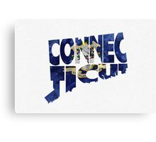 Connecticut Typographic Map Flag Canvas Print