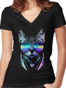Music Lover Cat Women's Fitted V-Neck T-Shirt