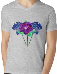 Blue and Purple Flowers Watercolo Painting Mens V-Neck T-Shirt