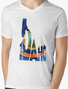 Idaho Typographic Map Flag Mens V-Neck T-Shirt
