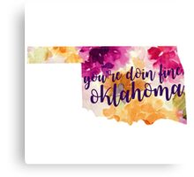 Floral You're Doing Fine Oklahoma Canvas Print