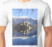 Church on island at Lake Bled Slovenia Unisex T-Shirt