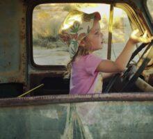 Lilly Driving Old Desert Truck Sticker