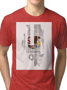 Illinois Typographic Map Flag Tri-blend T-Shirt