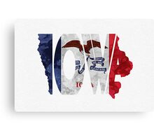 Iowa Typographic Map Flag Canvas Print
