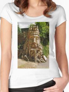 Dead Tree Carving of Neptune Sea God Women's Fitted Scoop T-Shirt