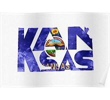 Kansas Typographic Map Flag Poster