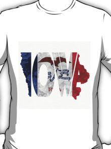 Iowa Typographic Map Flag T-Shirt