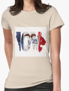 Iowa Typographic Map Flag Womens Fitted T-Shirt