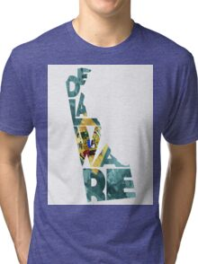 Delaware Typographic Map Flag Tri-blend T-Shirt
