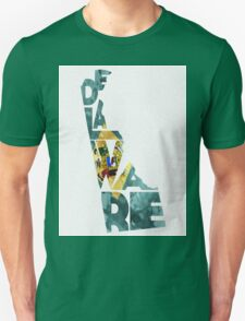 Delaware Typographic Map Flag Unisex T-Shirt