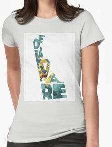 Delaware Typographic Map Flag Womens Fitted T-Shirt
