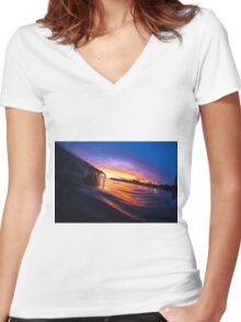 Sunset Wave II Women's Fitted V-Neck T-Shirt