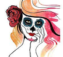 Watercolor Sugar Skull Girl Photographic Print