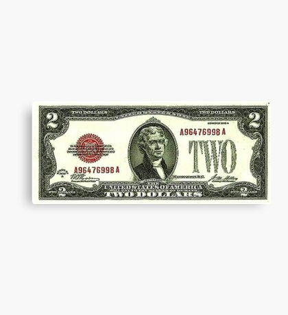 Two Federal Note Dollars Canvas Print