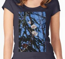 White Cherry Blossoms Women's Fitted Scoop T-Shirt
