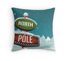 North Pole sign in a snowy Christmas scene. Throw Pillow