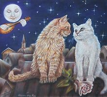 Valentine's day Cat Art - Romance and Mandolino by AlessandraArt