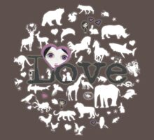 Love All Creatures - White Silhouettes on Dusty Lavender One Piece - Short Sleeve