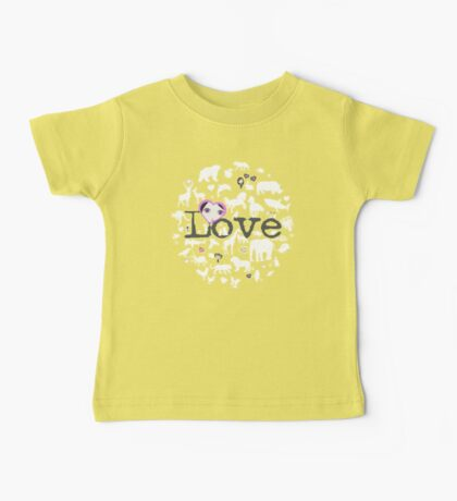 Love All Creatures - White Silhouettes on Dusty Lavender Baby Tee