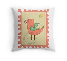 Bird stamp Throw Pillow