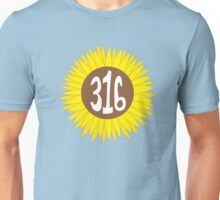 Hand Drawn Kansas Sunflower 316 Area Code Unisex T-Shirt