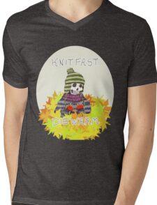Knit Fast Die Warm Skeleton Mens V-Neck T-Shirt