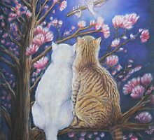 Romantic Cat Art - Moonlight Serenade by AlessandraArt