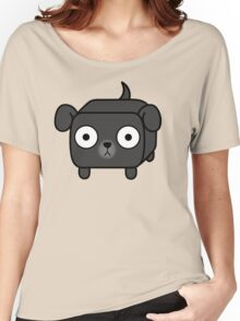 Pit Bull Loaf - Black Pitbull with Floppy Ears Women's Relaxed Fit T-Shirt