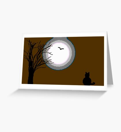 8-Bit The Moon and the Cat Greeting Card