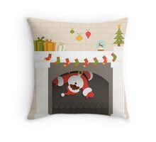 black santa stuck in fireplace  Throw Pillow