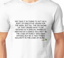 We take it in turns to act as a sort of executive vegan for the week... Unisex T-Shirt