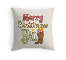 Merry Christmas Y'all Cowboy Boots Throw Pillow