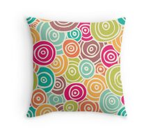 Cute retro doodle colorful pattern Throw Pillow