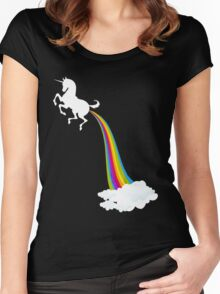 Unicorn Farting Rainbow Women's Fitted Scoop T-Shirt
