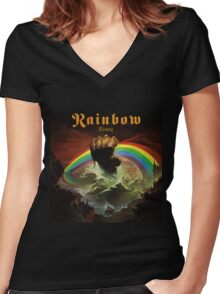 Rainbow Rising Rock Band Women's Fitted V-Neck T-Shirt