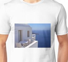 White architecture and chairs and table in Santorini, Greece Unisex T-Shirt