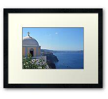 Church with dome in Santorini, Greece Framed Print