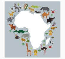 African White Map with Animals Kids Tee