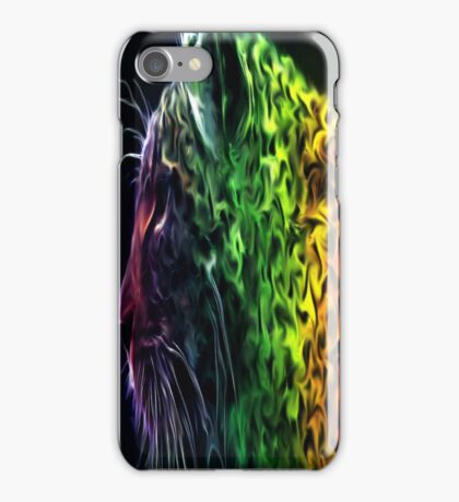 Abstract Neon Rainbow Cheetah Cat Wildlife iPhone Case/Skin