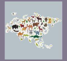 Eurasia Animal Map light blue Kids Tee