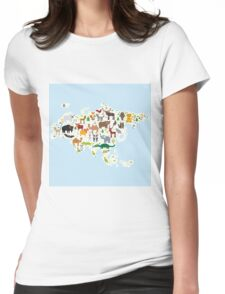 Eurasia Animal Map light blue Womens Fitted T-Shirt