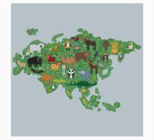 Eurasia Animal Map Green Baby Tee